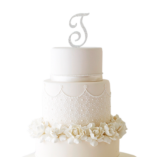 Initial Cake Topper with Swarvoski Crystals