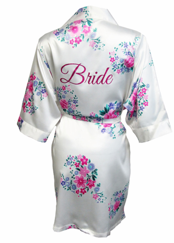 Floral Satin Bridal Party Robes with Glitter Print