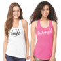 Bridal Party Racerback Tank Top in Curly Font