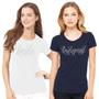 Rhinestone Bridal Party Crew Neck T-Shirt with Pretty Script Font