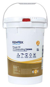 "Kem-Tek Power 99 3"" Chlorine Tablets - 50lb Bucket (Wrapped)"