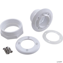 Waterway Steel Wall Fitting Assembly with Combo Spacer/Locknut 1.5 FPT x 1.5 FPT - White # 400-9160B