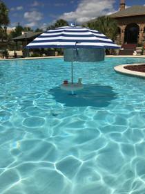 Pool Buoy Plus Floating Umbrella - Nautical Navy