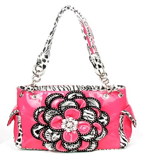 Crystal Leaf Light Pink Leopard Rhinestone Flower Handbag 88f557a9963d8