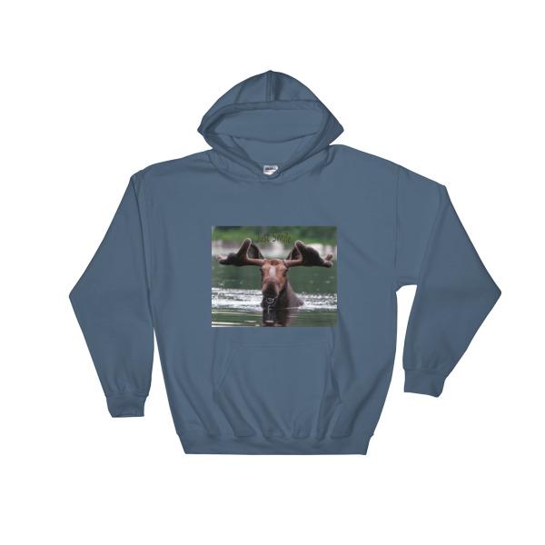"""""""Smiling Moose"""" Hooded Sweatshirt """"Just Smile"""" Collection - Dennis' Secret Pond, Maine"""