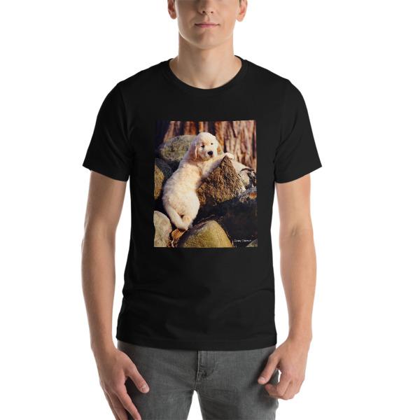 """Buddy On The Rocks""  Adult Unisex Short-Sleeve T-Shirt The Original Golden Retriever Puppy - Authentic Dennis Glennon"