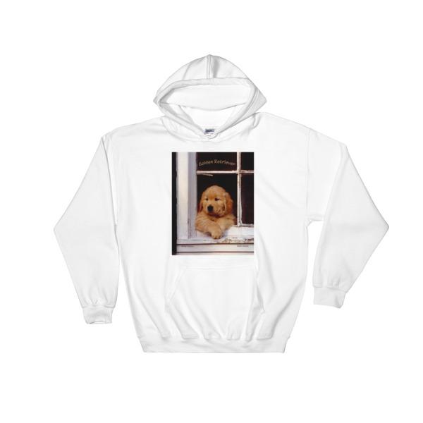 """Buddy's Window"" Hooded Sweatshirt ""The"" Original Golden Retriever Puppy - Authentic Dennis Glennon"