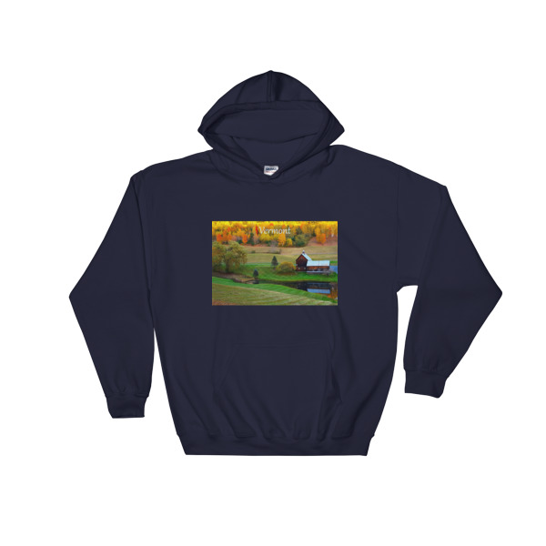 """Rustic Beauty"" Hooded Sweatshirt Classic Vermont Barn in Fall - Woodstock, Vermont"