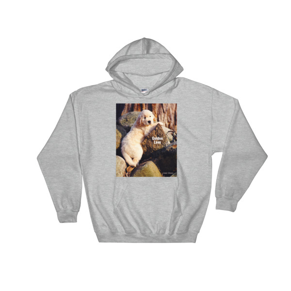 """Buddy On The Rocks"" The Original Golden Retriever Puppy Hooded Sweatshirt - Authentic Dennis Glennon"