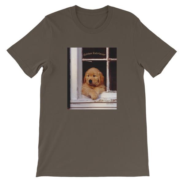 """Buddy's Window""  Adult Unisex Short-Sleeve T-Shirt ""The"" Original Golden Retriever Puppy - Authentic Dennis Glennon"