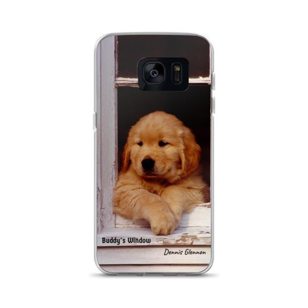 """""""Buddy's Window"""" Samsung Phone Case """"The"""" Original Golden Retriever Puppy - Authentic Dennis Glennon"""