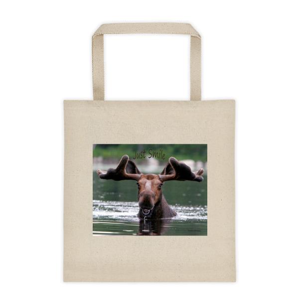 """Smiling Moose"" Roomy Square Bottom Tote ""Just Smile"" Collection - Dennis' Secret Pond, Maine"