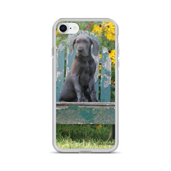 """I'll Take A Seat"" Rustic Blue Great Dane Puppy iPhone Case"