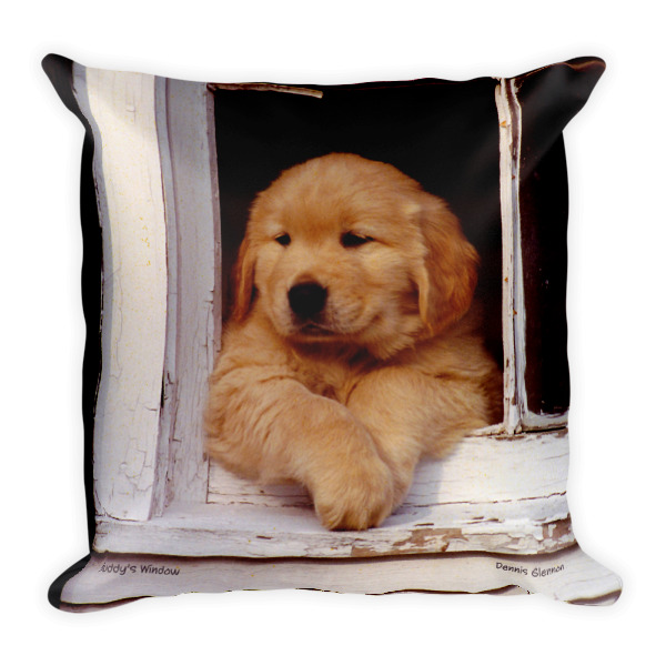 """""""Buddy's Window"""" and """"Buddy On The Rocks"""" Double Sided Golden Retriever Puppy Pillow - Authentic Dennis Glennon"""