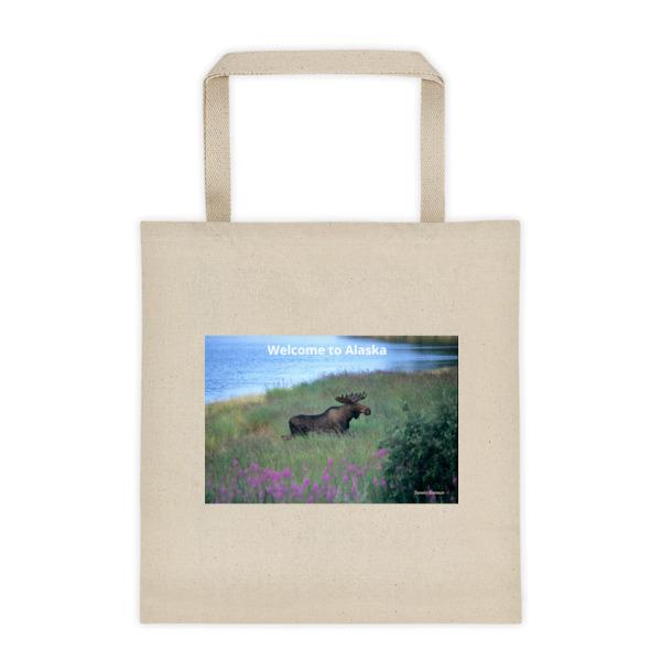 """Fireweed Moose"" Young Bull Moose Fireweed Field Roomy Square Bottom Tote Bag - Katmai, Alaska"