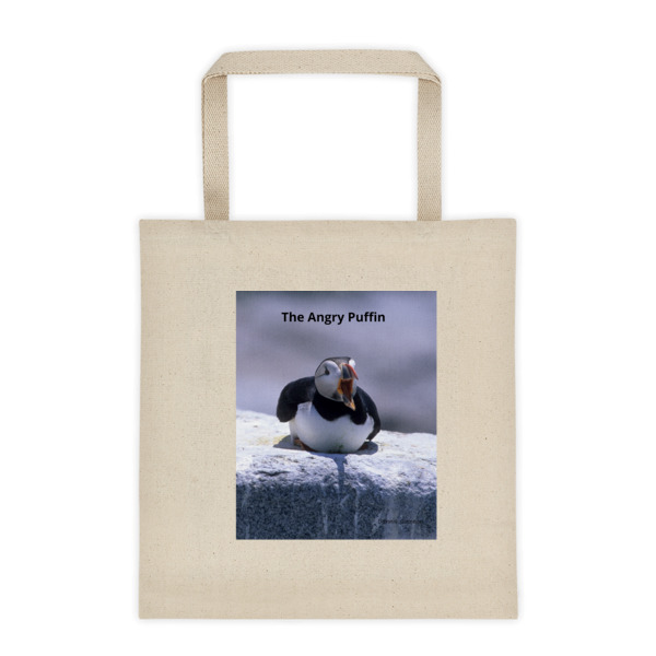 """Angry Puffin"" Roomy Square Bottom Tote Bag - One of Dennis' Secret Spots in Maine"