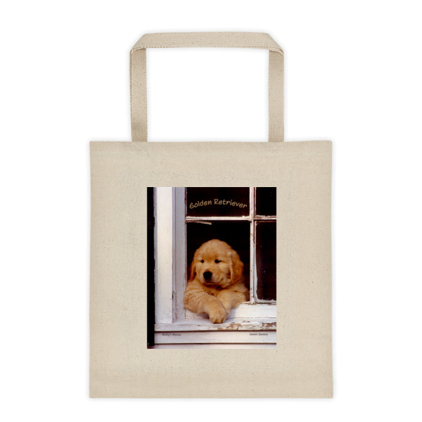"""Buddy's Window"" Original Golden Retriever Puppy Roomy Square Bottom Tote Bag - Authentic Dennis Glennon"