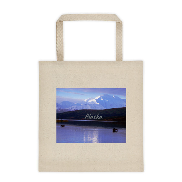 """Dipping and Drinking"" Wild Moose Roomy Square Bottom Tote Bag - Denali National Park, Alaska"