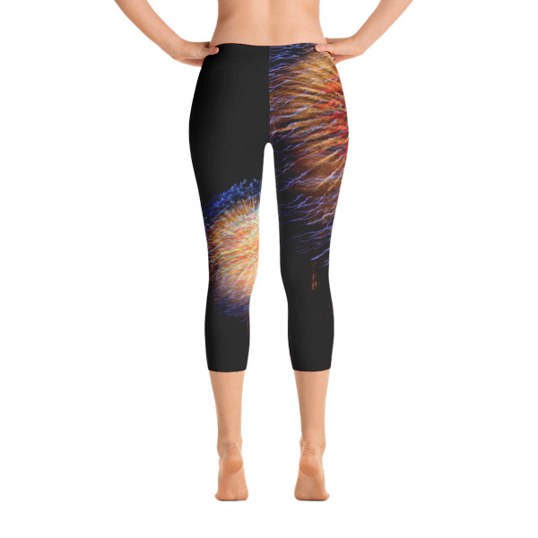 """""""Spectacular Color"""" Abstract Women's All-Over CAPRI Leggings 4th of July Fireworks - Hudson River, New York City"""