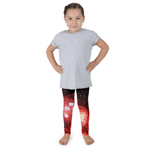 """""""Bursting In Air"""" Abstract Kid's Leggings Funky 4th of July Fireworks - Hudson River, New York City"""
