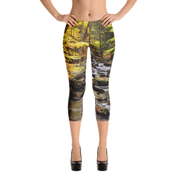 """Ex-Stream"" Women's All-Over CAPRI Leggings Yellow Flower Waterfall - Hiking Harriman State Park, New York"