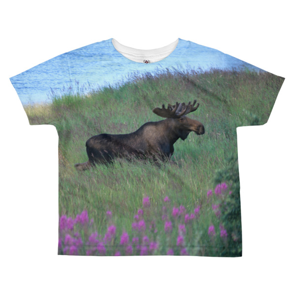"""Fireweed Moose"" Young Bull Moose Fireweed Field Kid's All-Over T-Shirt - Katmai, Alaska"