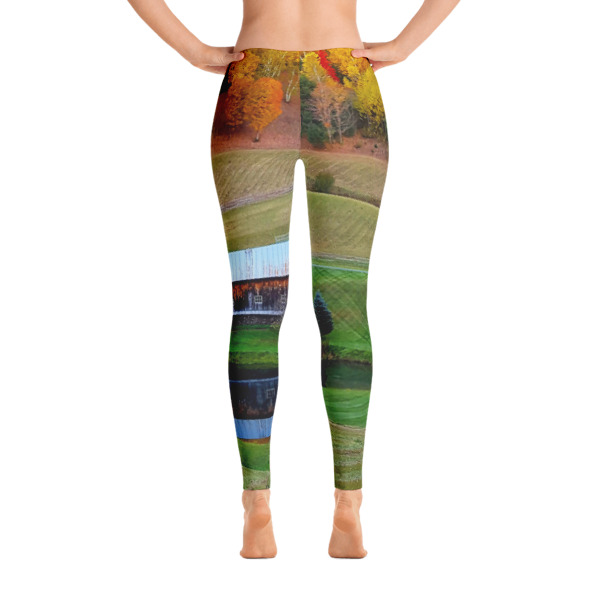 """Rustic Beauty"" Women's All-Over Leggings Vermont Barn in Fall - Woodstock, Vermont"