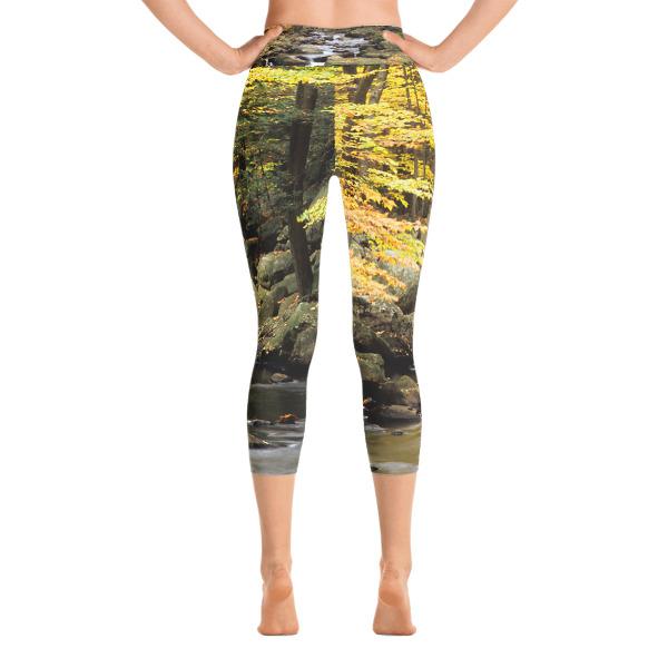 """Ex-Stream"" Women's All-Over YOGA Capri Leggings Yellow Flower Waterfall - Hiking Harriman State Park, New York"