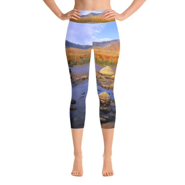 """Fall Reflection"" Women's Colorful All-Over YOGA Capri Leggings - Mt. Katahdin, Maine"