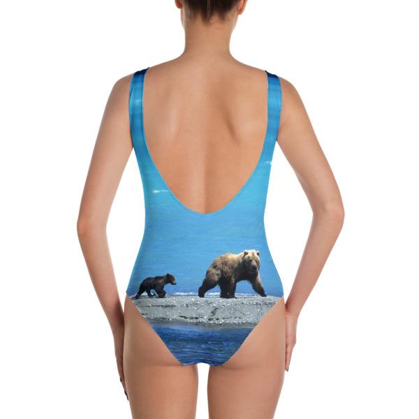 """Beach Lover Grizzly Bears"" Women's One-Piece Swimsuit Katmai, Alaska"