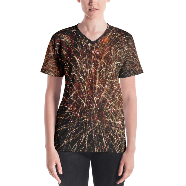 """ Lit Up"" Abstract Women's V-neck  All-Over T-Shirt  - 4th of July Fireworks-Hudson River, New York City"