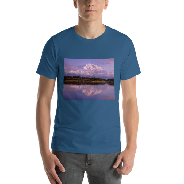 """ Reflection Pond Sunset"" Adult Unisex  Short Sleeve T-Shirt - Mt. McKinley, Denali National Park, Alaska"