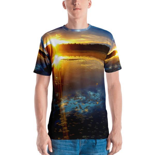 """4am Sunrise"" Colorful Men's  All-Over T-Shirt - Dennis' Secret Pond Maine"
