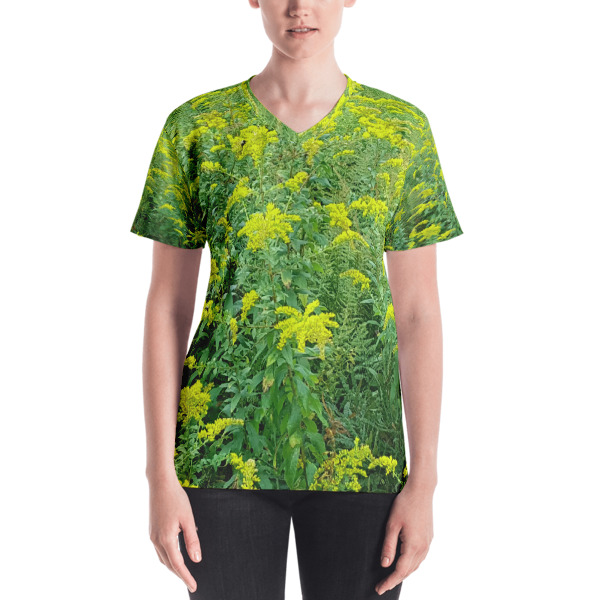 """Blooming Ferns"" Women's All-Over V-Neck T-Shirt - Harriman State Park, New York"