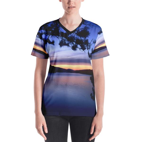 """Blue Lagoon"" Lake Sunset Women's All-Over V-neck T-Shirt - Baxter State Park, Maine"