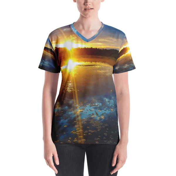 """4am Sunrise"" Colorful Women's All-Over V-Neck T-Shirt - Dennis' Secret Pond Maine"