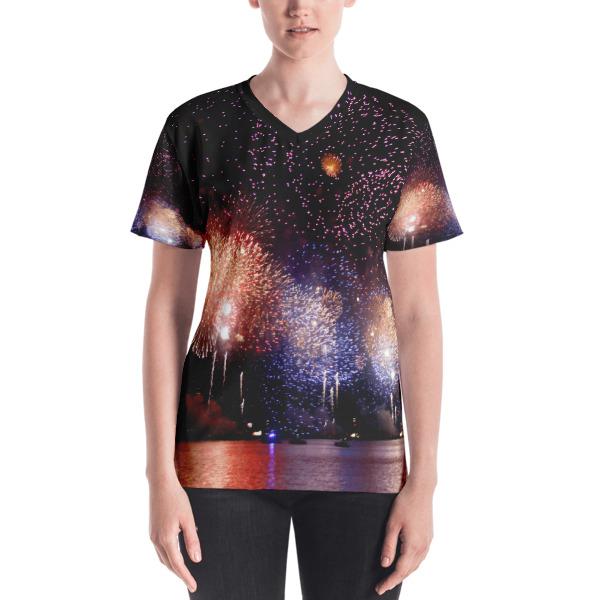 """Bursting Color"" Women's All-Over V-Neck T-Shirt - 4th of July Fireworks Hudson River, New York City"