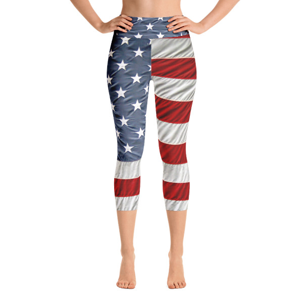 Yoga Capri Leggings Red white and Blue all the way through American Flag