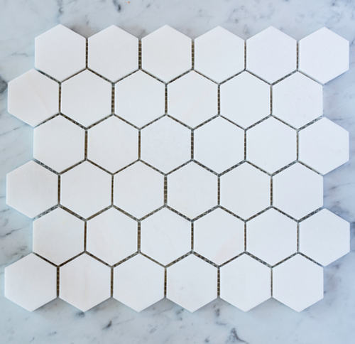 "Thassos 2"" Hexagons"
