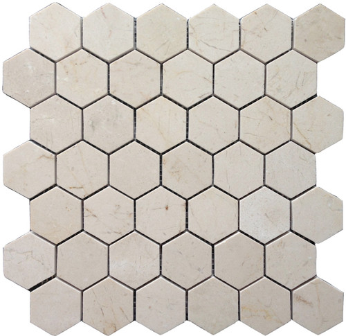"Crema Marfil Honed 2"" Hexagons"
