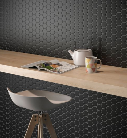"Alameda Black Matte 2"" Hexagons"