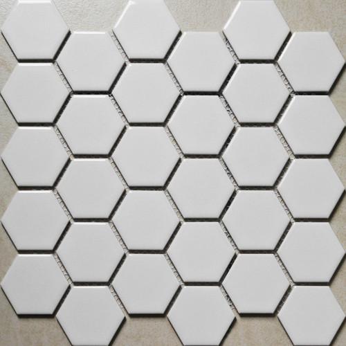 "Alameda White 2"" Matte Hexagon Mosaic Tiles"