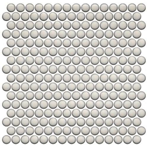 Pearl White Bright  12×12 Penny Round Mosaic