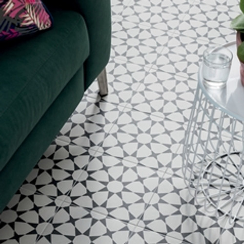 "Cuban Collection White Star 9""x9"" Floor Tiles"