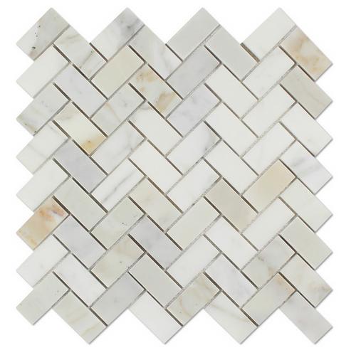Calacatta Gold Italian Calcutta Marble Honed Herringbone Tile