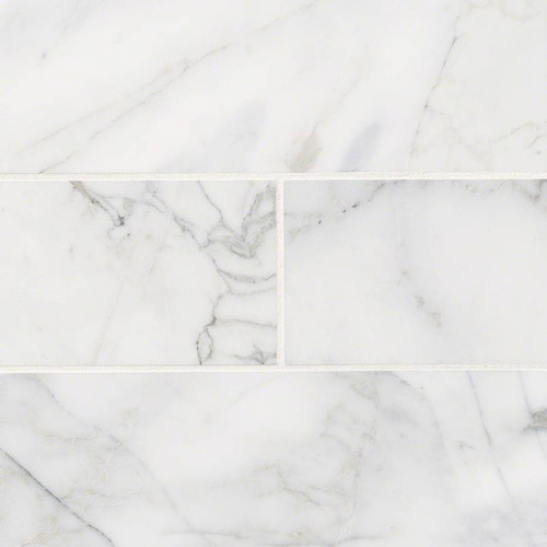 "Calacatta Nuovo Honed 4""x12"" Marble Subway Tile"