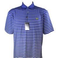 Masters Tech Golf Polo - Royal Blue/White Striped