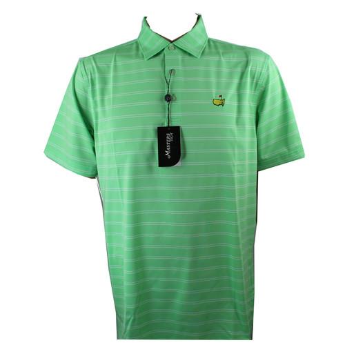 Masters Tech Golf Polo- Bright Green & White Striped