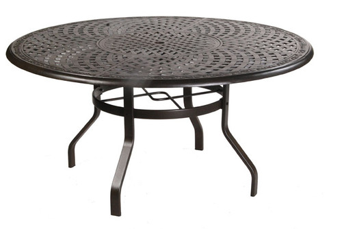 Waverly 60in Round Aluminum Dining Table with Inlaid Lazy Susan