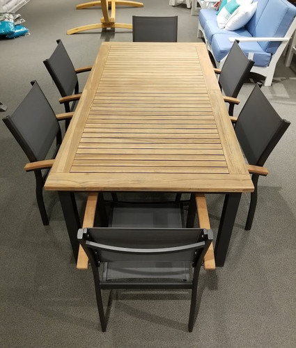 Compass Butterfly Teak Top Dining Table
